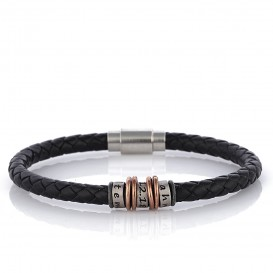 Three Ring Design Leather Bracelet