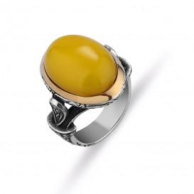 Kehribar Taşlı El İşi Erkek Yüzüğü