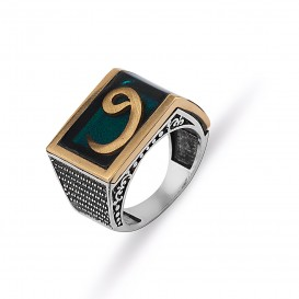 Vav Themed Green Enamel Silver Men's Ring