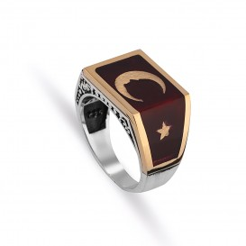Atatürk Silhouetted Moon Star Silver Men's Ring