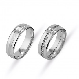 Straight Double Wedding Ring with Tamtur Stone