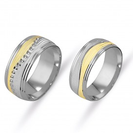 Yellow White Sandy Double Wedding Ring
