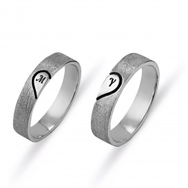 Lettered Heart Florentin Silver Wedding Ring