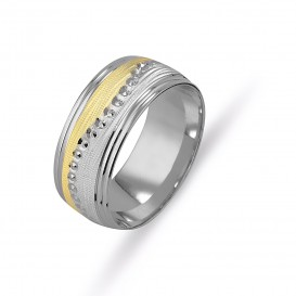 Yellow White Sandy Women's Wedding Ring