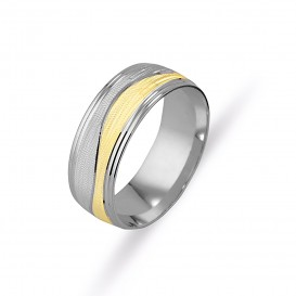 Yellow White Sandy Male Wedding Ring