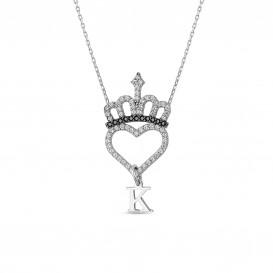 Harfli Kral Tacı Kalpli Gümüş Kolye