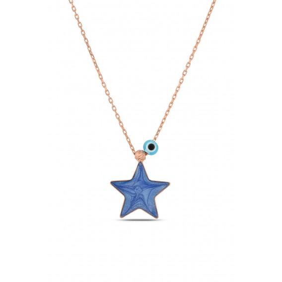 Nazar Dualı Gümüş Mavi Yıldız Kolye