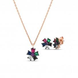 Renkli Taşlı Yonca Mini Set
