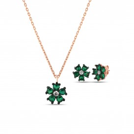 Green Zircon Stone Daisy Set