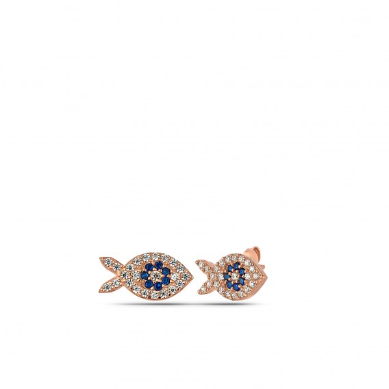 Beyaz Taşlı Gümüş Balık Küpe