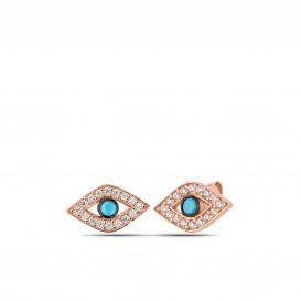 Firuze Taşlı Gümüş Göz Küpe