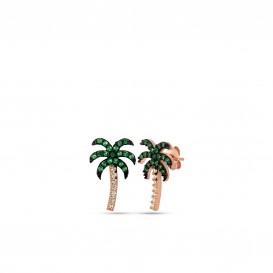 Palmiye Temalı Yeşil Taşlı Gümüş Küpe