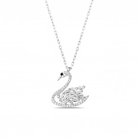 Baguette Stone Swan Necklace