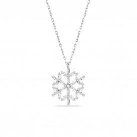 Baguette Stone Snowflake Necklace