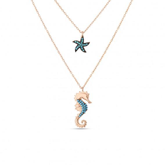 Firuze Deniz Atı Deniz Yıldızı Gümüş Kolye
