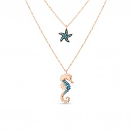 Firuze Sea Horse Starfish Silver Necklace