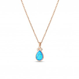 Blue Opal Stone Silver Necklace
