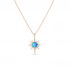 Mavi Opal Taşı Gümüş Kolye