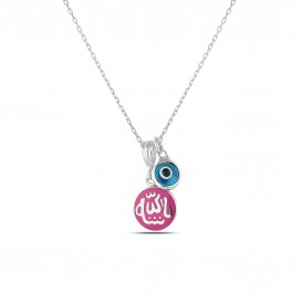 Pink Enamel Allah Written Necklace