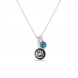 Cyan Enamel Allah Written Necklace