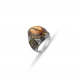Squeezing Amber Stone Design Men's Ring