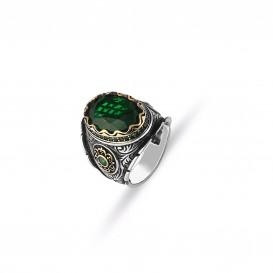 Yeşil Zİrkon El İşi Erkek Yüzük