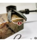 Silver Letter Ring with Red Enamel Heart