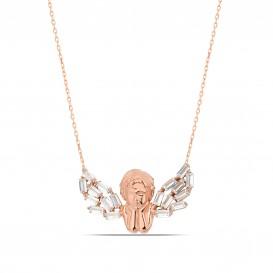 Baguette Stone Angel Necklace