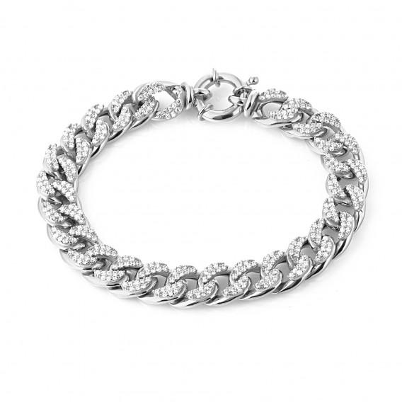Zirkon Taşlı Klasik Gümüş Zincir