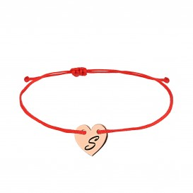 Silver Bracelet with Mini Heart Plate Letter