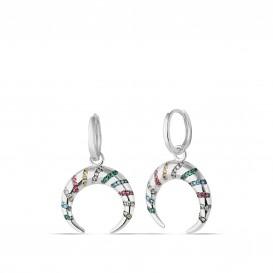 Colorful Zircon Crescent Earrings