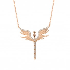 Baguette Stone Angel Necklace
