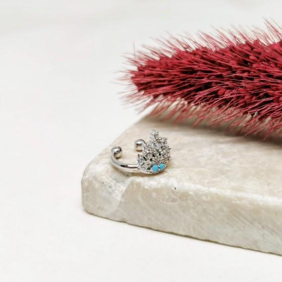 Yaprak Modeli Tekli Gümüş Kıkırdak Küpesi