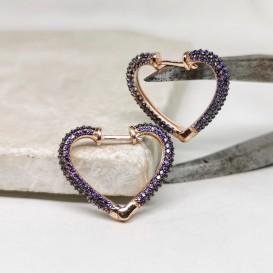 Mor Taşlı Kalpli Gümüş Küpe