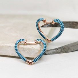 Taşlı Kalpli Gümüş Küpe