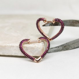 Fuchsya Stone Heart Silver Earrings