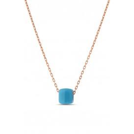 Mavi Boncuklu Klasik Gümüş Kolye