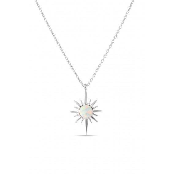 Opal Taşı Gümüş Kolye