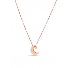 Minimal Moon Star Silver Necklace