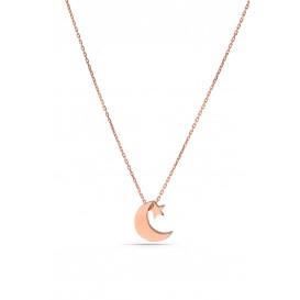 Minimal Ay Yıldız Gümüş Kolye