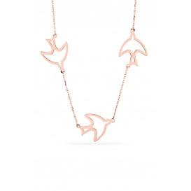 Triple Swallow Silver Necklace