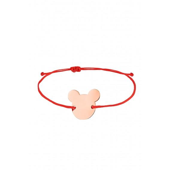 Kırmızı İpli Gümüş Micky Bileklik