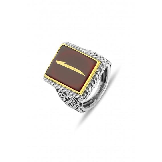 Akik Taşlı El İşi Gümüş Erkek Yüzüğü