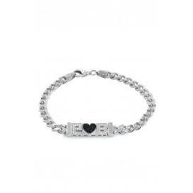 Silver Bracelet with Heart Letter