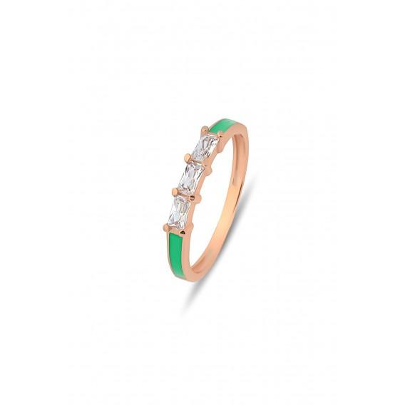 Yeşil Neon Mineli Çıtır Gümüş Yüzük