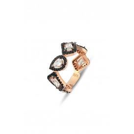 Black Stone Mix Silver Tamtur Ring