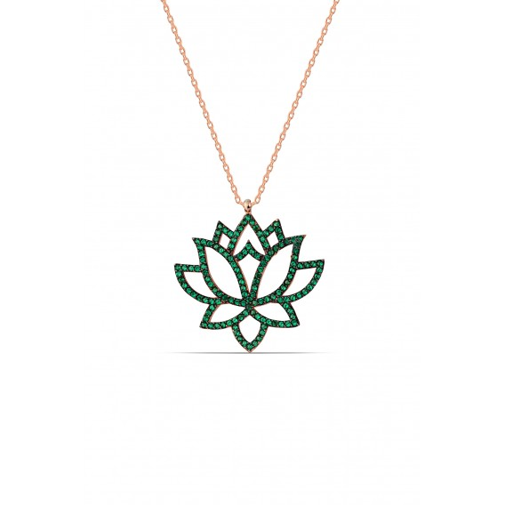 Yeşil Taşlı Gümüş Lotus Çiçeği Kolye