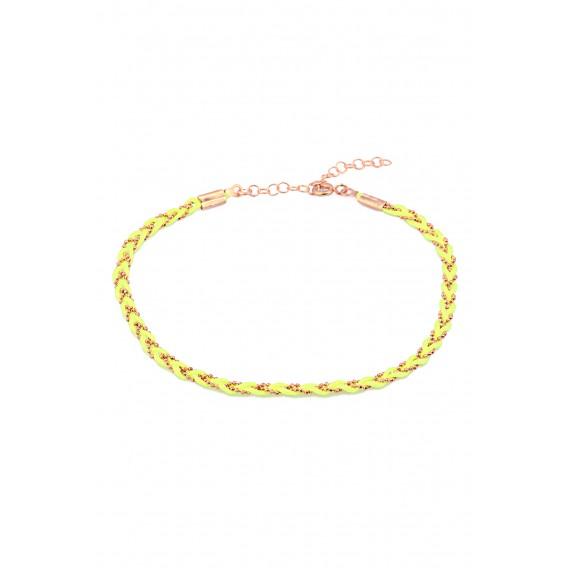 Sarı Neon İpli Gümüş Örme Halhal