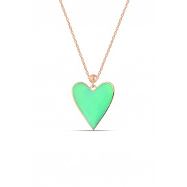 Yeşil Neon Mineli Kalpli Gümüş Kolye