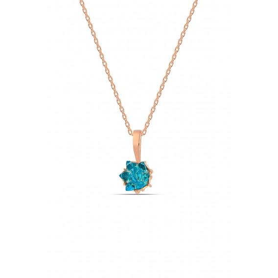 Aquamarine Taşlı Lotus Çiçeği Gümüş Set